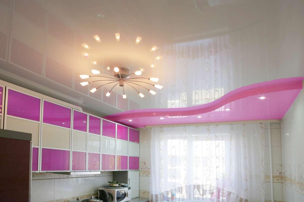 потолки на кухне натяжные двухуровневые фото